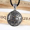 Redonda de la vendimia hueco tallado real pura plata esterlina 925 collar de los colgantes colgante grande placa medalla de estilo para hombres y mujeres