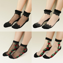 Womens Ankle Socks Ultrathin Transparent Beautiful Crystal Lace