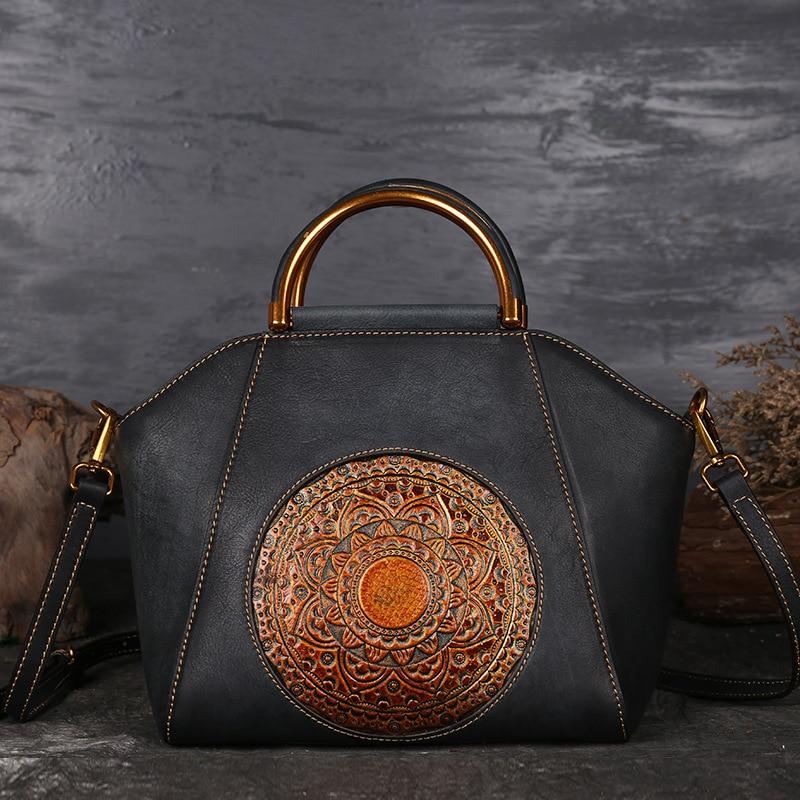 Vintage Women Genuine Leather Handbags Ladies Retro Elegant Shoulder Messenger Bag Cow Leather Handmade Womans Bags