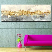 Modern Nordic Abstract Gray Gold Money Sea Wave Canvas Painting Wall Art Poster and Prints for Living Room Home Decor No Frame(China)