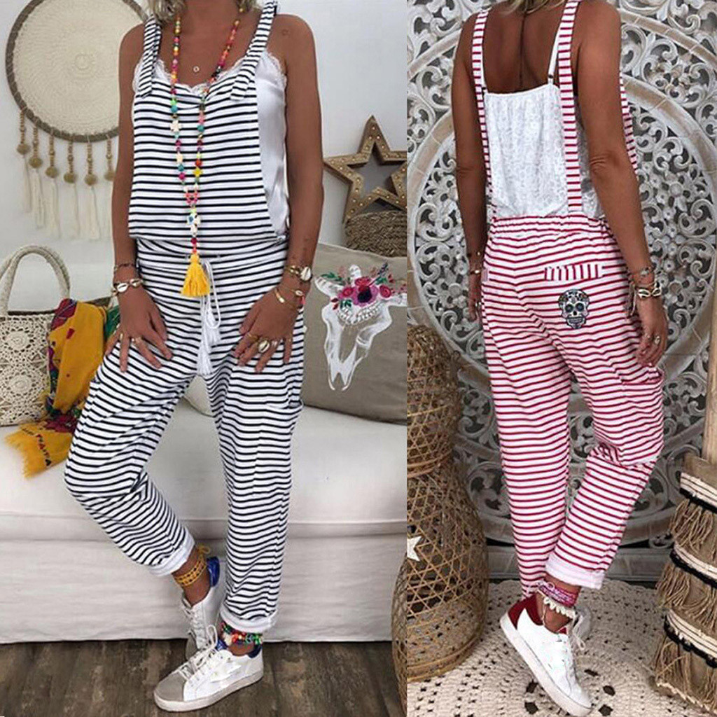 Women Fashion   Jumpsuit   Striped Bib Idyllic Simple Bib combinaison femme Summer Rompers Womens   Jumpsuit   mono mujer overalls