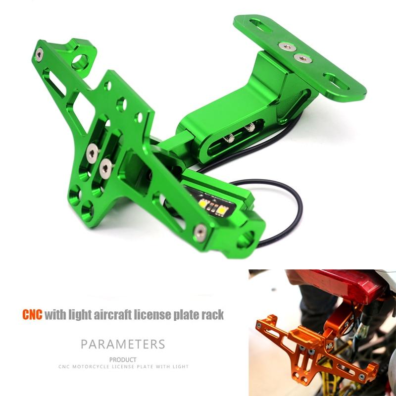 Motorcycle Adjustable Angle Aluminum License Number Plate Frame Holder Bracket FOR Kawasaki Ninja 636 ZX-6R Z 300 ABS ER-6N Z800