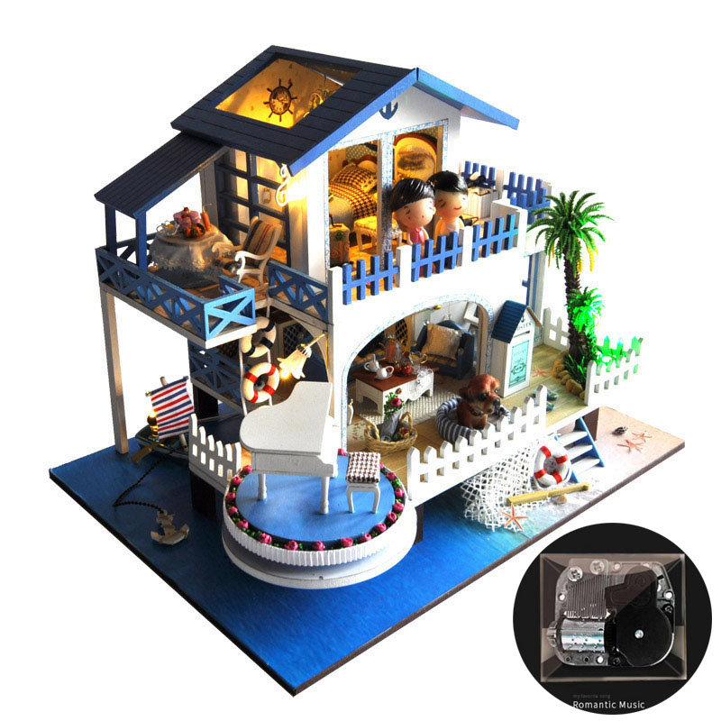 Miniature Mediterranean Villa Dollhouse Furniture Kits DIY Wooden Dolls House LED Lights Music Box Gift Not Include Dolls