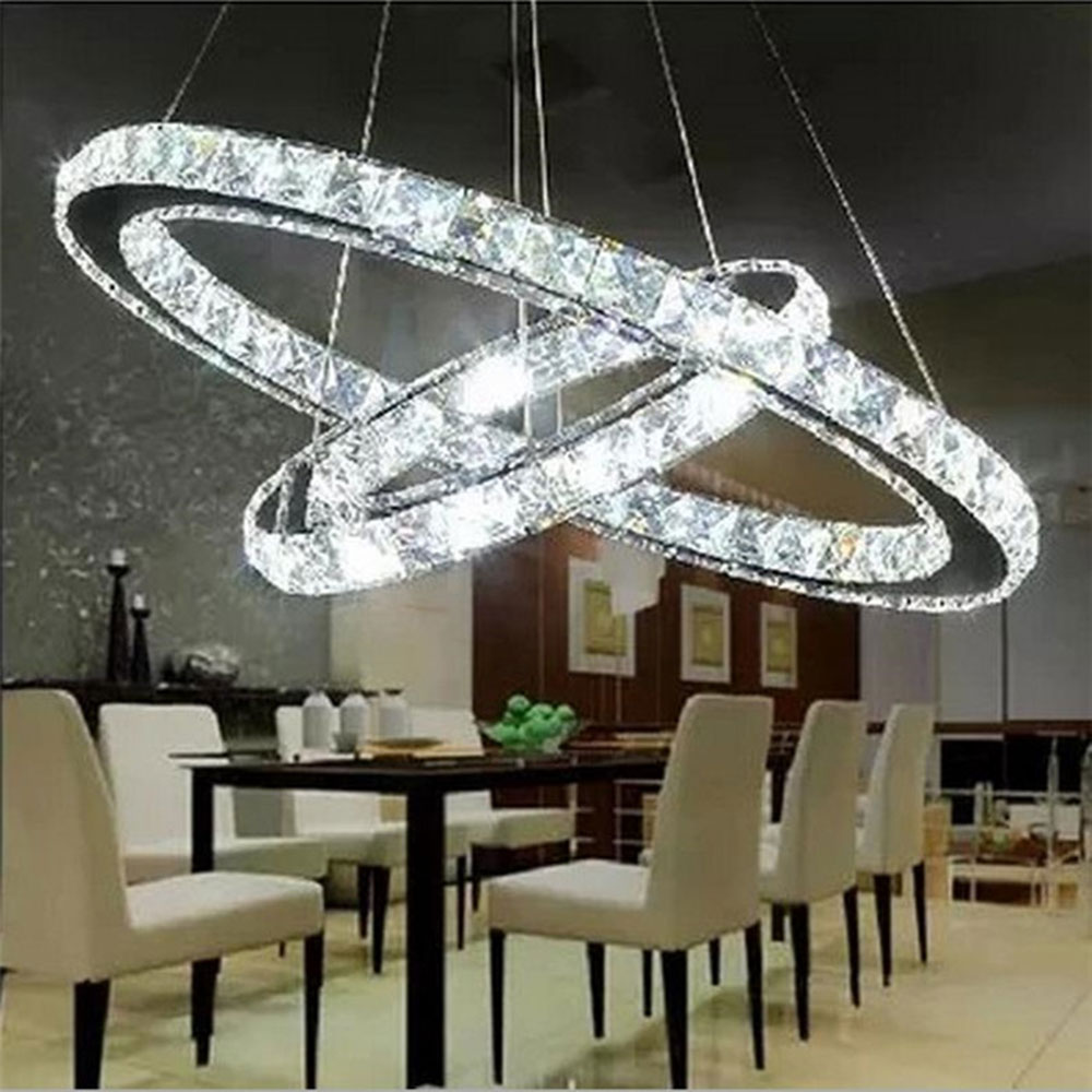 Modern DIY 2 Rings LED Crystal Chandelier Ring Light Lusters Circle Suspension Fixture Lampen
