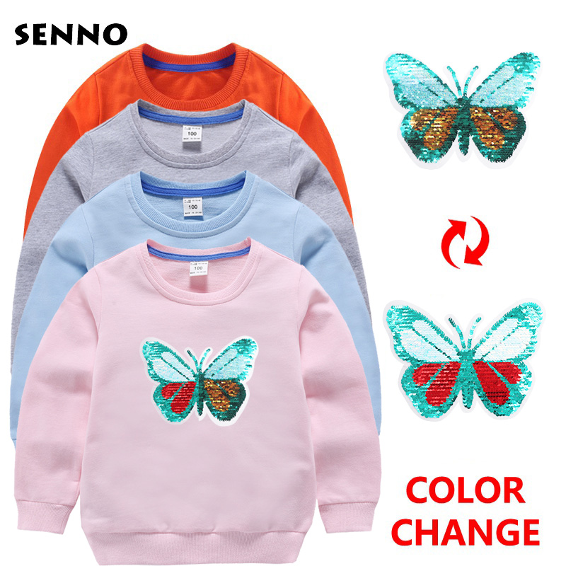 Color Change Girls Sweatshirts Butterfly Sequins Child Hoodies Autumn Winter Long Sleeves Sweater Kids T-shirt Clothes 3 4 5 6 8 stylish cowl neck long sleeves color match batwing irregular design cotton blend sweater for women