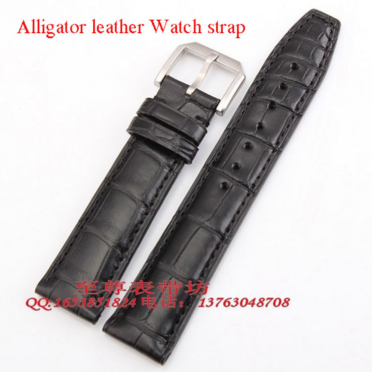 19mm 20mm 21mm 22mm Size Available Black/Brown Genuine Alligator Leather Watch Strap Band Writwatch brand pin Buckle 18mm 19mm 20mm 21mm 22mm available new high quality black or brown genuine leather watch bands straps free shipping
