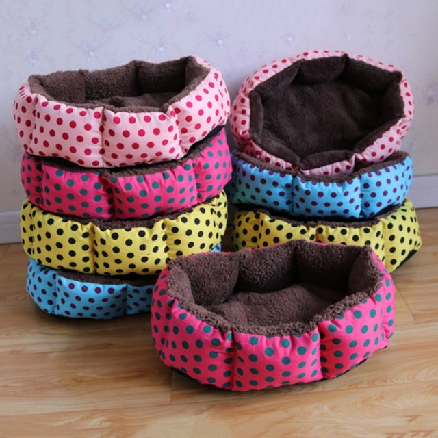 Cute Dogs Beds Leopard Colorful Print Pet Cats Warm Nest Winter Super Soft Octagonal Nest Beds