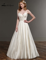 Simple Spaghetti Straps A Line Taffeta Wedding Dresses With Pockets White Ivory Low Back Bridal Gowns