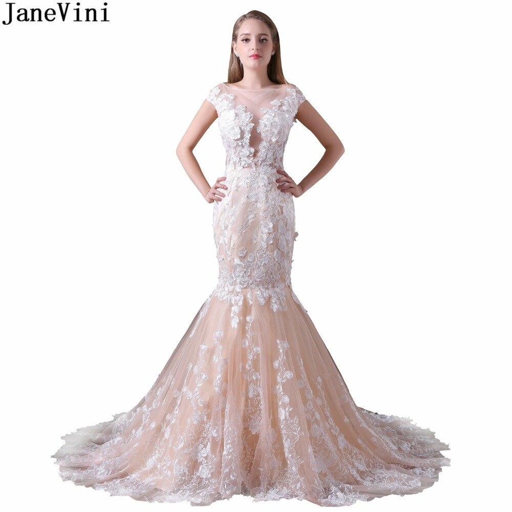 JaneVini Champagne encolure dégagée robes de demoiselle d'honneur longue fête dentelle Appliques gracieuse sirène formelle robes de bal Tulle balayage Train