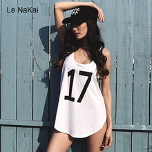Le NaKai Loose Number&Letter Printed Yoga TankTop Mesh Hollow out Back Gym Sleeveless Jersey for Women Fitness Sports Blouse