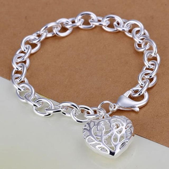 6678e60a4143 € 1.79  Pulsera de plata plateado pulsera corazones pulseras del encanto  para las mujeres de plata, joyería de moda al por mayor envío gratis ajia  ...