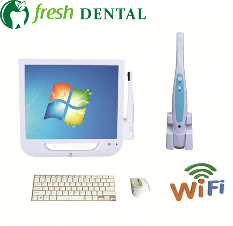 Dental Intraoral Camera with 17inch touch Screen Monitor Computer WIFI 4 million pixels Oral camera SSD hard drive TW135 new arrival dental intraoral camera can page up down and delete wifi transfero computer save picture into u disk
