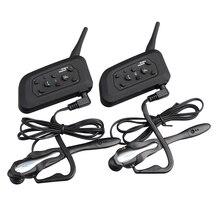 2 unids V6-1200m Intercomunicador Bluetooth Headset Inalámbrico Gancho Auricular de Juego para el Juez Árbitro de Fútbol de La Bicicleta