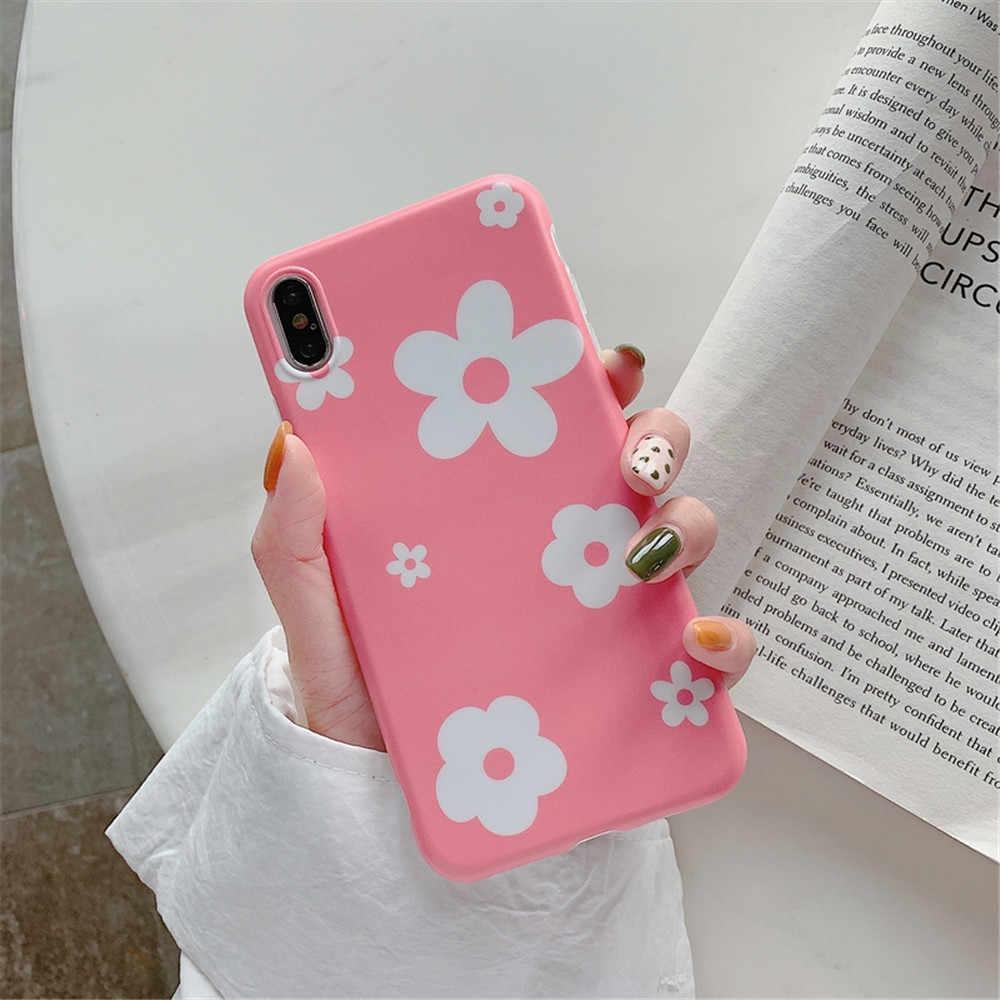 ELALA Matte Case Para iphone 7 8 Mais Doces Flor Cor de Mármore Folhas Padrão Capa De Silicone Para O iphone 8 6 S mais X XR XS Caso Max