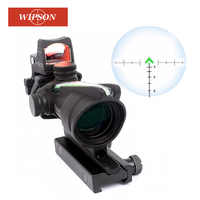 WIPSON ACOG 4X32 Optic Scope Riflescope CAHEVRON Reticle Fiber Red Illuminated Optic Sight With RMR Mini Red Dot Sight 20mm Rail
