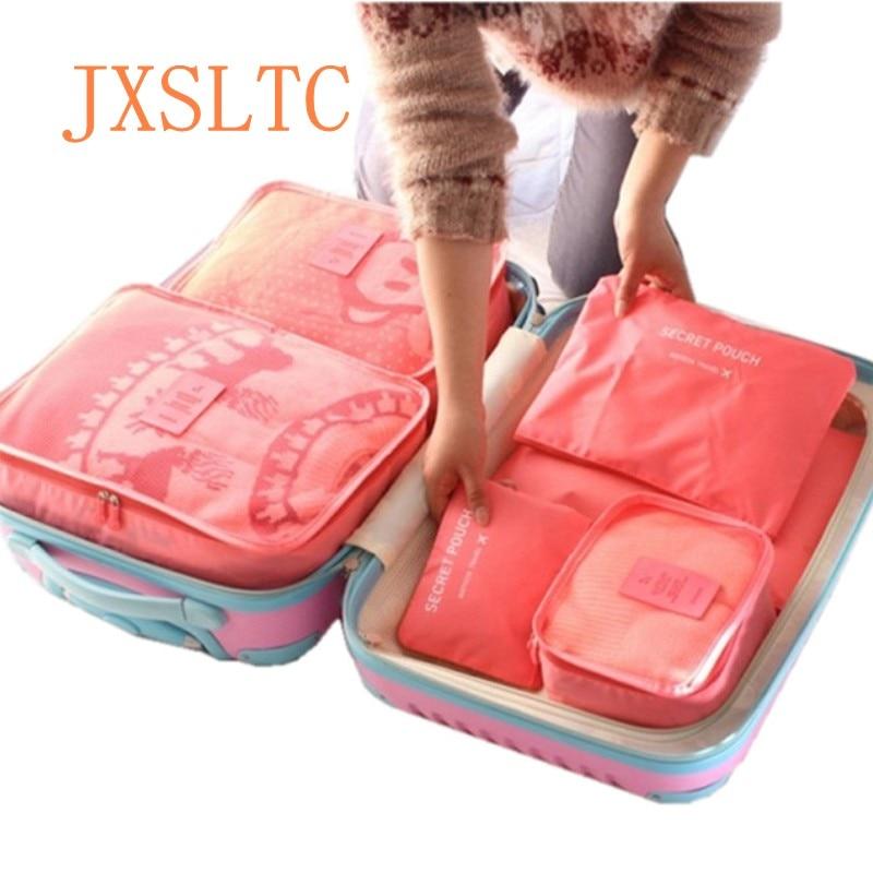 6 PCS სამგზავრო შესანახი ტომარა ტანსაცმლის ორგანიზატორი სისუფთავე გარდერობი ჩემოდანი სამოგზაურო ჩანთა ორგანიზატორი ჩანთა ყუთი შესაფუთი კუბის ჩანთა