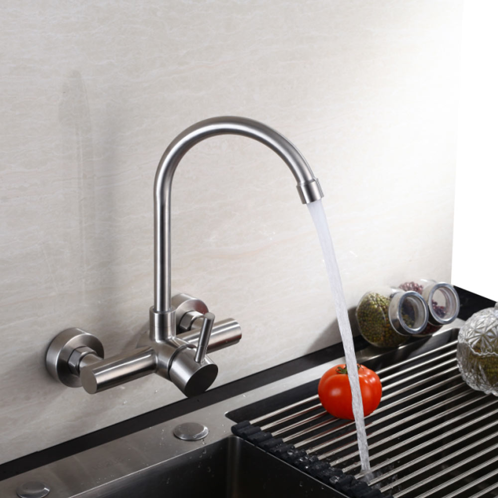 Wall Mounted Kitchen Faucet SUS 304 stainless steel Brushed Nickle Faucets Spool Mixer Water Tap Hot And Cold Double Control цена