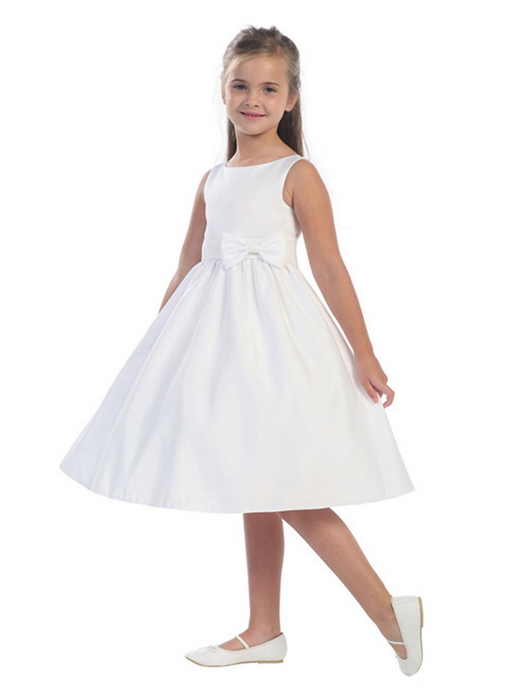 ФОТО Little Girls Communion Dresses Knee Length Stain 3 Colors O-neck Bow Sashes Sleeveless Solid A-Line Dresses for First Communion