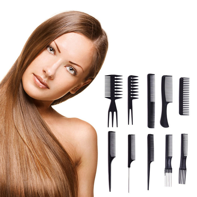 10pcs Hair Styling Combs Kit Salon Professional Cutting Hairdressing Plastic Barbers Brush