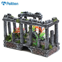 Aquarium Fish tank Decorations, Antique Roman Column Ruins European Castle Ornaments, do not Fade, Create a Natural Atmosphere