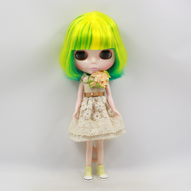 Free shipping Blyth Doll icy licca body BL40033208 short yellow mix green Hair normal body 1/6 30cm gift toy цена и фото