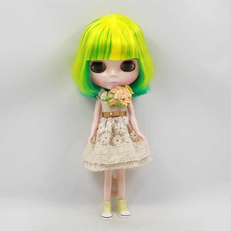 купить Free shipping Blyth Doll icy licca body BL40033208 short yellow mix green Hair normal body 1/6 30cm gift toy онлайн