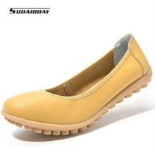 New 2016 Women Genuine Leather Shoes Women Hand-sewn Soft Leather Ballet Flats Cowhide Boat Shoes Woman Loafers Plus Size 35-40