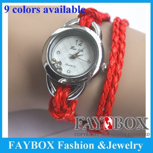Nice long PU strap bracelet for lady and girl,Round braid woven rope fashion watch with crystal