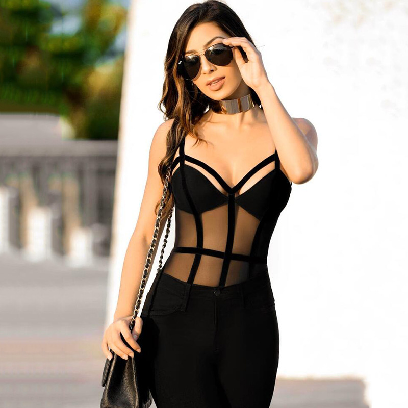 Black Stretchy Sleeveless Backless Sexy Lace Bodysuit 2018 New Summer Mesh Bodysuit for  ...