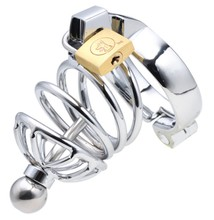 Stainless steel new design cock cage penis ring cage, lockable dildo cage ring, sex toys sex products SM637-S
