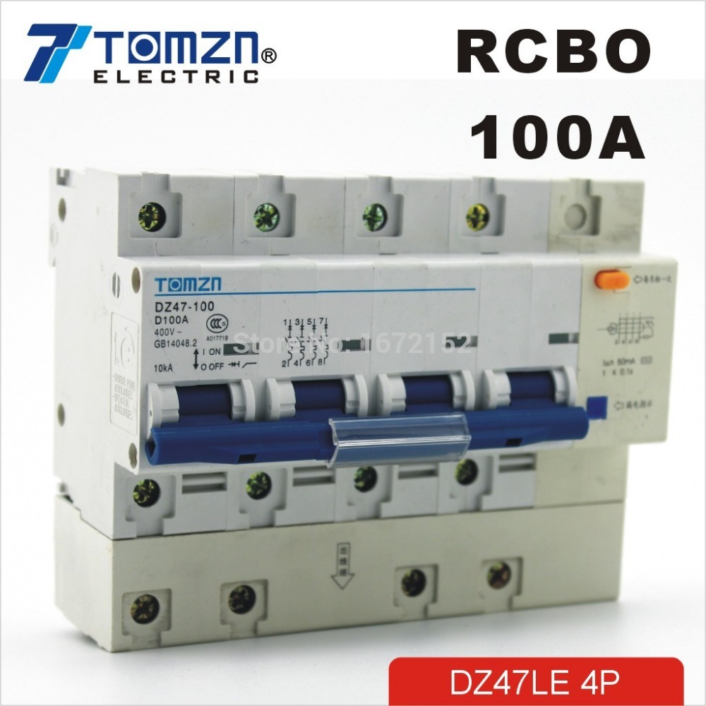 DZ47LE 4P 100A D type 400V~ 50HZ/60HZ Residual current Circuit breaker with over current and Leakage protection RCBO dz47le 4p 100a 220 380v small earth leakage circuit breaker dz47le 100a household leakage protector switch rcbo