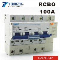 DZ47LE 4P 100A D type 400V~ 50HZ/60HZ Residual current Circuit breaker with over current and Leakage protection RCBO