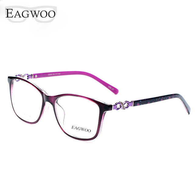 71f66487d4 Online Shop Acetate TR90 Women Female Eyeglasses Full Rim Crystal Optical  Frame Prescription Plain Clear Elegant Eye Glasses 22059 Tortoise