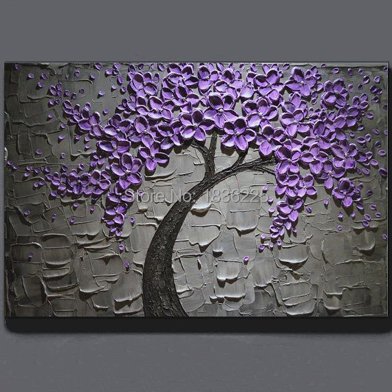 Purple Flower Oil Painting Abstract Wall Art Picture: Handmade Oil Painting On Canvas Purple Flower Tree Oil