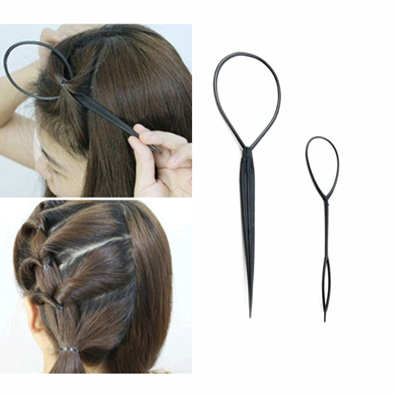 1 pair 2 pcs Hair Braid Maker Ponytail Creator Plastic Loop Styling Tools Black  Pony Tail Clip Styling Tool