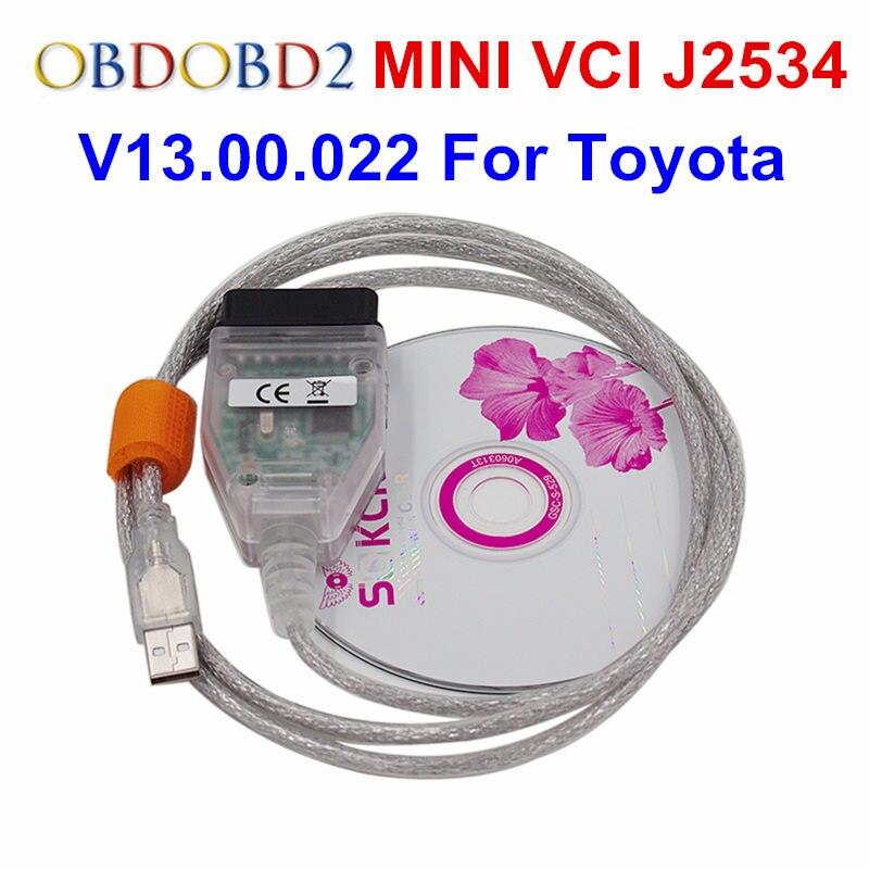 Mais novo V13.00.022 Mini Vci TIS Techstream Interface de Comunicação Padrão OBD2 MINI-VCI Cabo E Conector de Diagnóstico Do Carro