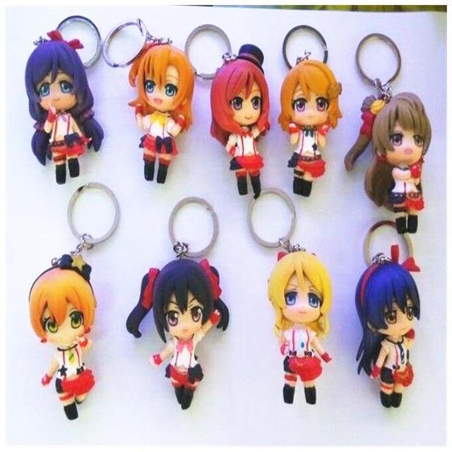 New 9pcs/set Cartoon Anime Love Live Keychain Doll PVC Figure Model Toy 5cm  Free