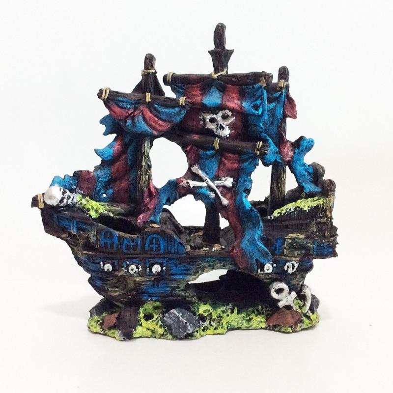 Pirate Ship Resin Boat Decoration Aquarium Fish Tank ...
