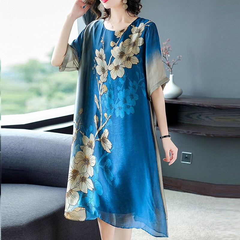 WYWAN femmes robe d'été grande taille Style chinois Vintage Vestidos femme élégant dame Empire plissé robes longues en vrac M-2XL