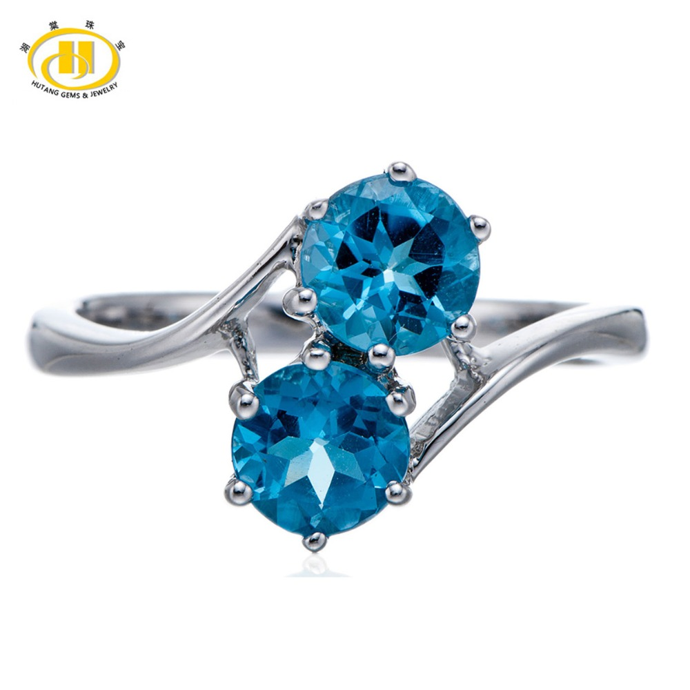 HUTANG Round 6mm Real Blue Topaz Rings Natural Gemstone Solid 925 Sterling Silver Ring Fine Fashion