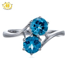 Hutang Round 6mm Real Blue Topaz Gemstone Solid 925 Sterling Silver Ring Fine Fashion Jewelry