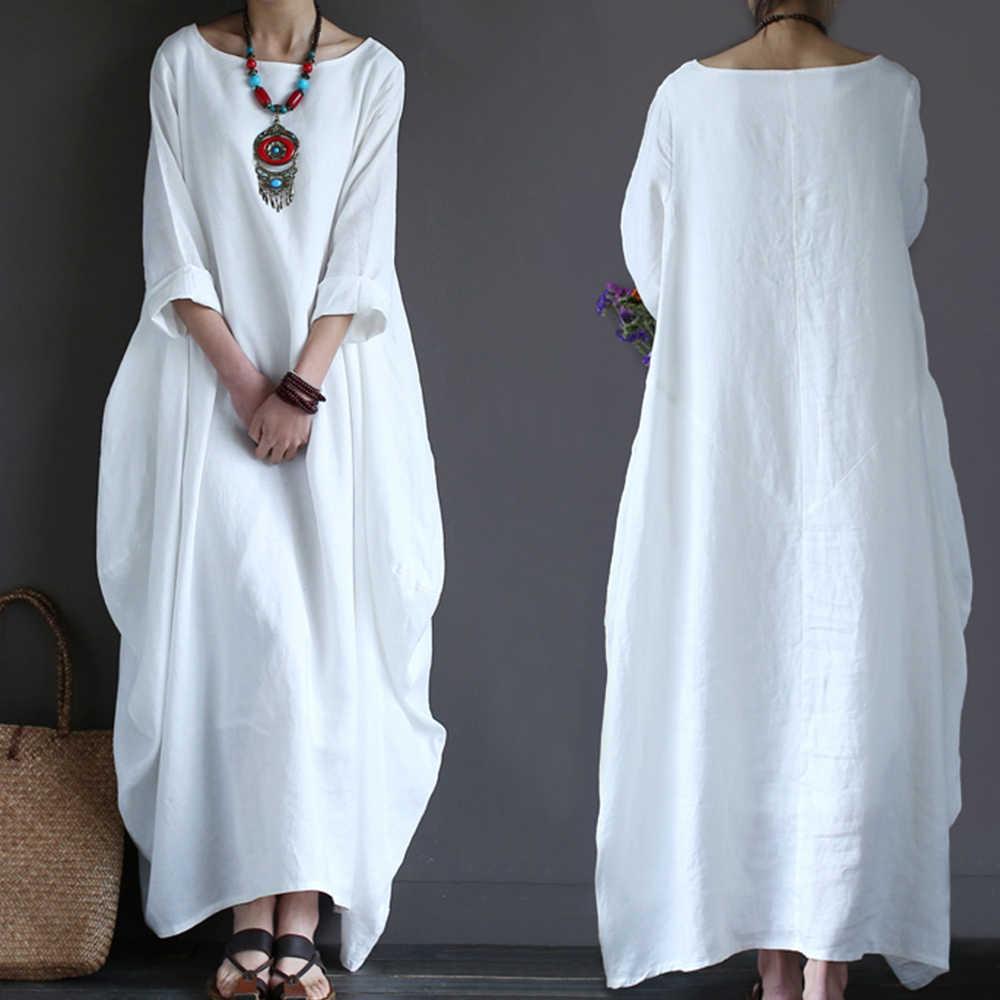 Хлопковое льняное летнее платье в богемном стиле, свободные большие размеры, длинные платья макси с большим подолом, белое платье-рубашка с рукавом три четверти и круглым вырезом