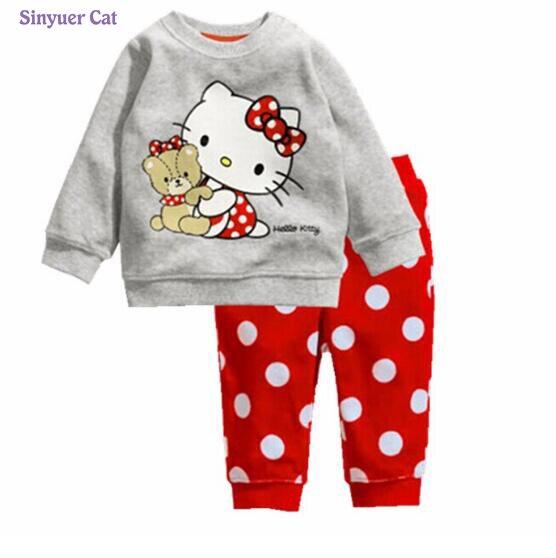 2017 Kids Pajamas Baby Boys Autumn hello kitty Sleepwear Casual Suits Dot Sweatshirt +trousers Cotton Children Clothing Sets
