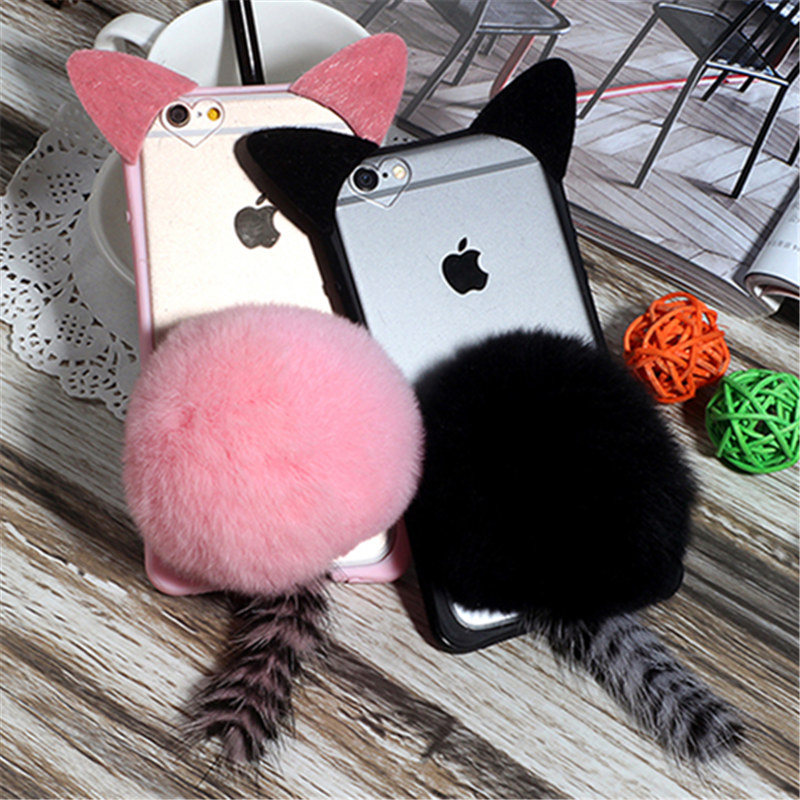 For Samsung A3 A5 A7 J1 J2 J3 J5 J7 2016 2017 Prime A8 A9 Cute Cartoon Cat ear Tail Phone case Plush Fur Ball Soft Back Cover