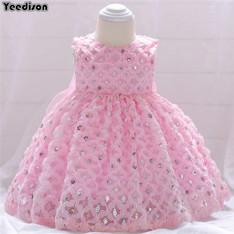Baby Girl Dress 2018 Cute Toddler Infant Princess Dress 1st Birthday Sequins Newborn Party Wedding Dresses Baby Christening Gown cute red and black princess dress sequin toddler summer dresses ruffles with bow baby girl sleeveless 1st birthday dress