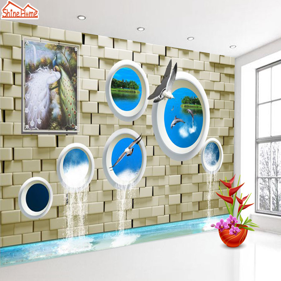 ShineHome-Modern Dolphin Sea Gulls Water Flow Brick Wall Paper 3d Wallpaper for Walls 3 d  Living Room Background Wallpapers shinehome red van gogh almond blossom painting wallpaper rolls for 3d walls wallpapers for 3 d living rooms wall paper murals