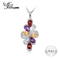 JewelryPalace 6ct Natrual Amethyst Garnet Citrine Green Amethyst Necklaces Pendants 925 Sterling Silver 45cm Box Chain
