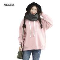 ARCSINX Pink Sweatshirt Women Plus Size 4XL 5XL 2017 Autumn Winter Fleece Hoodies Women Oversized Harajuku