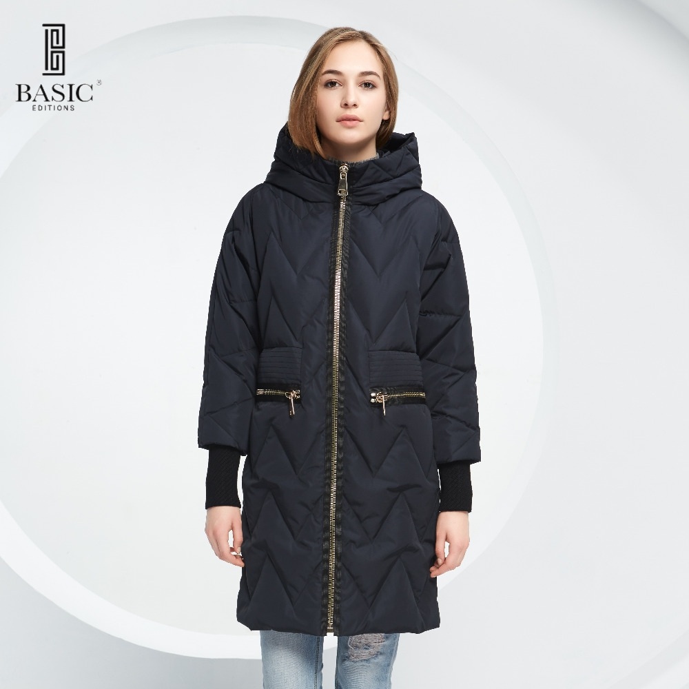 Basic Vogue Women Winter Quilted Long Parka Wide Waist Down Coat Jacket with Hood - Y16028 women s new winter quilted jacket chunky puffer coat full zip spliced sweater hood padded outwear with knit sleeve