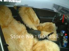 2 шт.бесплатная доставка реальные накидки на сиденья автомобиля из австралийской овчины( желтый + коричневый )